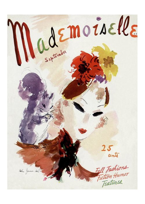 Illustration Greeting Card featuring the photograph Mademoiselle Cover Featuring A Woman by Helen Jameson Hall