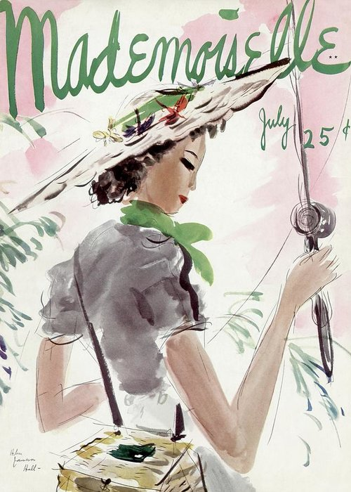 Illustration Greeting Card featuring the photograph Mademoiselle Cover Featuring A Woman Holding by Helen Jameson Hall