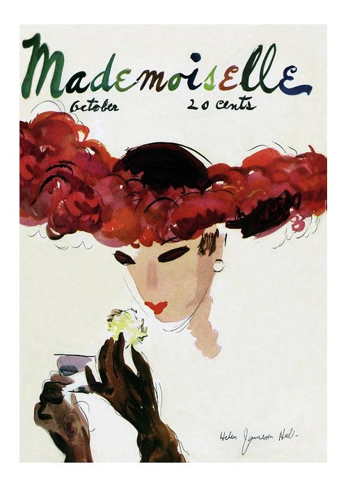 Illustration Greeting Card featuring the photograph Mademoiselle Cover Featuring A Woman In A Red by Helen Jameson Hall