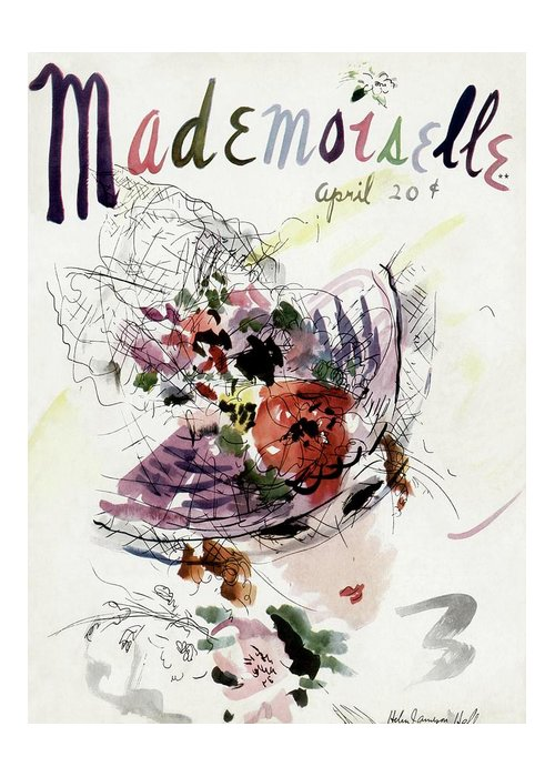 Fashion Greeting Card featuring the photograph Mademoiselle Cover Featuring An Illustration by Helen Jameson Hall