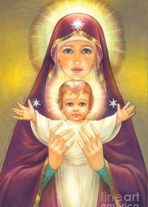Mother Of God Greeting Card featuring the digital art Madonna And Baby Jesus by Zorina Baldescu