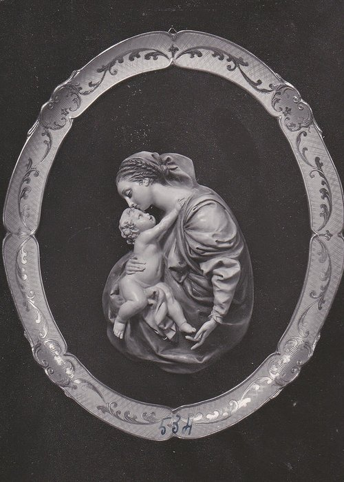 Church Greeting Card featuring the pyrography Madonna And Child by Allan Koskela