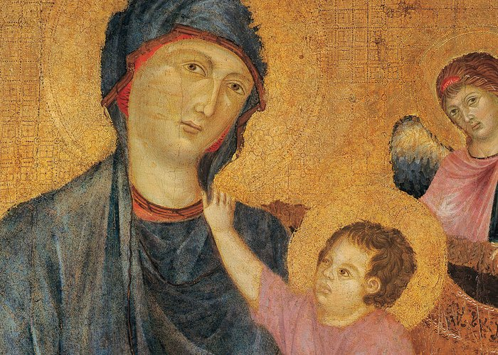 Madonna And Child Greeting Card featuring the painting Madonna And Child Enthroned by Cimabue