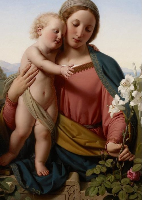 Jesus Greeting Card featuring the painting Madonna And Child by Franz Ittenbach