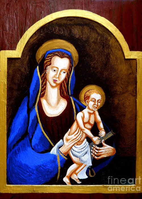 Madonna And Child Greeting Card featuring the painting Madonna And Child by Genevieve Esson