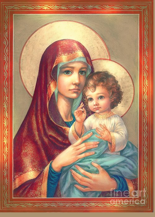 Mother Of God Greeting Card featuring the digital art Madonna And Sitting Baby Jesus by Zorina Baldescu
