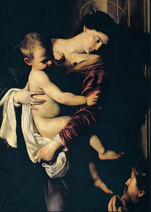 Madonna And Child Greeting Card featuring the painting Madonna Di Loreto by Caravaggio
