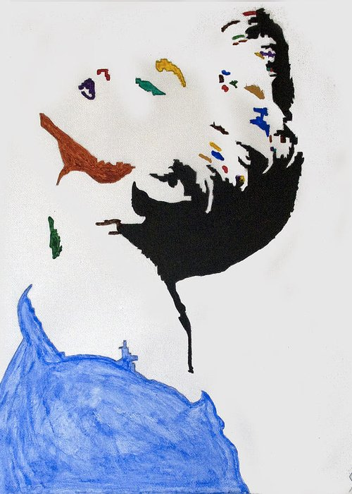 Madonna Greeting Card featuring the painting Madonna True Blue by Stormm Bradshaw