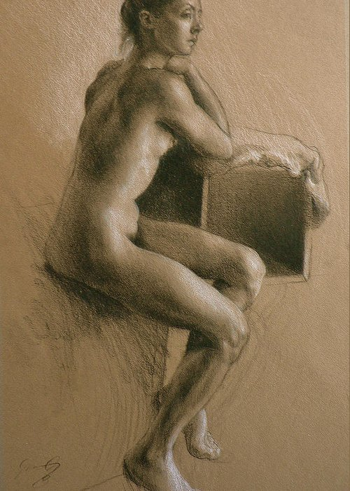 Nude Greeting Card featuring the drawing Madrid by Jason Rafferty