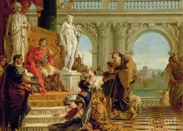 Literary Patron Greeting Card featuring the painting Maecenas Presenting The Liberal Arts To The Emperor Augustus by Giovanni Battista Tiepolo