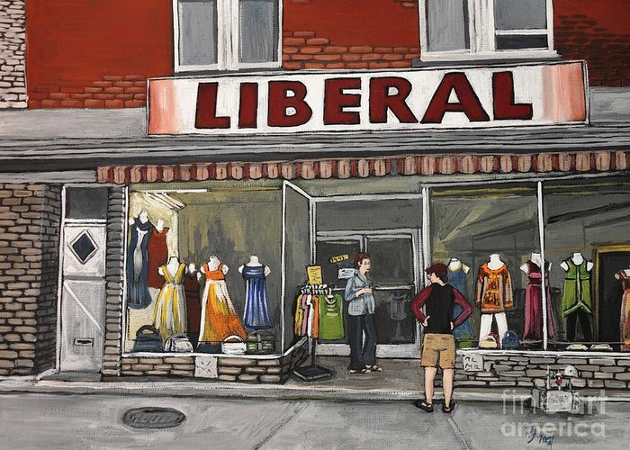 Magasin Liberal Greeting Card featuring the painting Magasin Liberal Notre Dame by Reb Frost