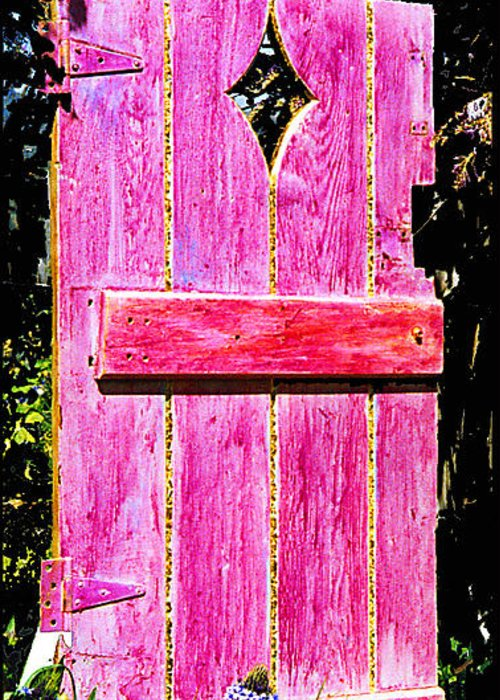 Painted Door Greeting Card featuring the sculpture Magenta Painted Door In Garden by Asha Carolyn Young and Daniel Furon