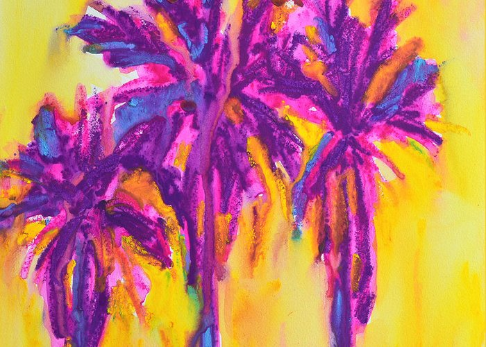 Art Greeting Card featuring the painting Magenta Palm Trees by Patricia Awapara