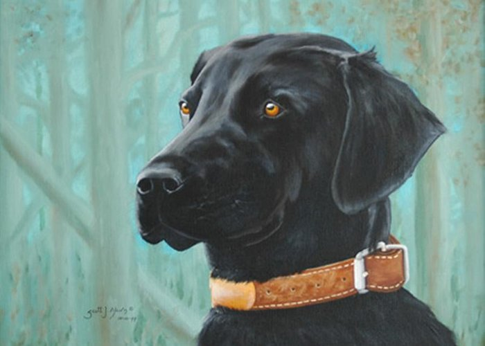 Dog Greeting Card featuring the painting Maggie by Scott Alcorn