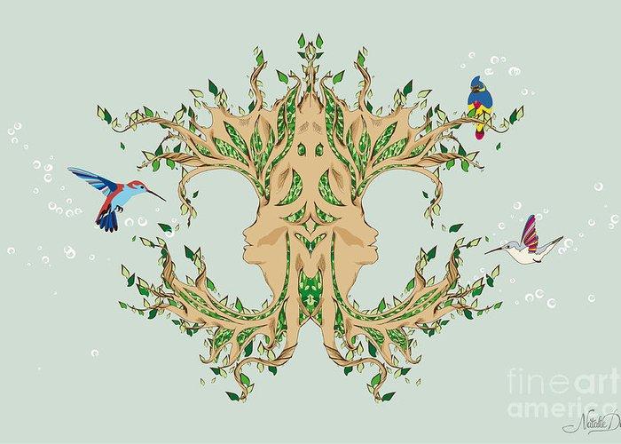 Art Greeting Card featuring the digital art Magic Tree by Disko Galerie