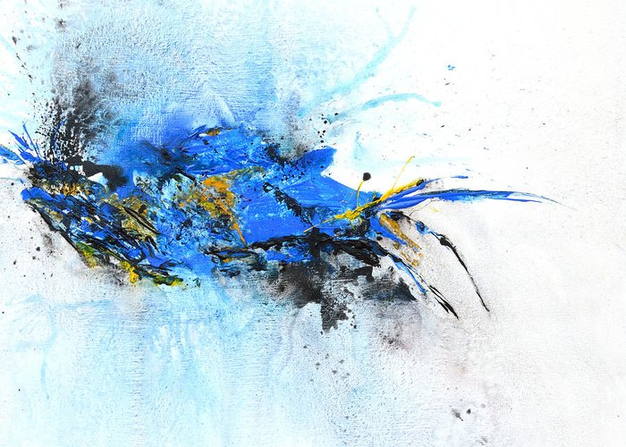 Abstract Art Greeting Card featuring the painting Magical Blue 1- Abstract Art by Ismeta Gruenwald