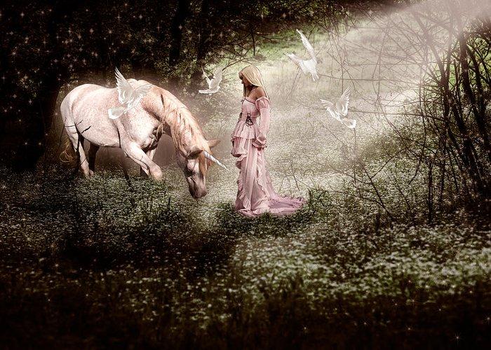 Fantasy Art Greeting Card featuring the digital art Magical Meadow by Gene Linzy