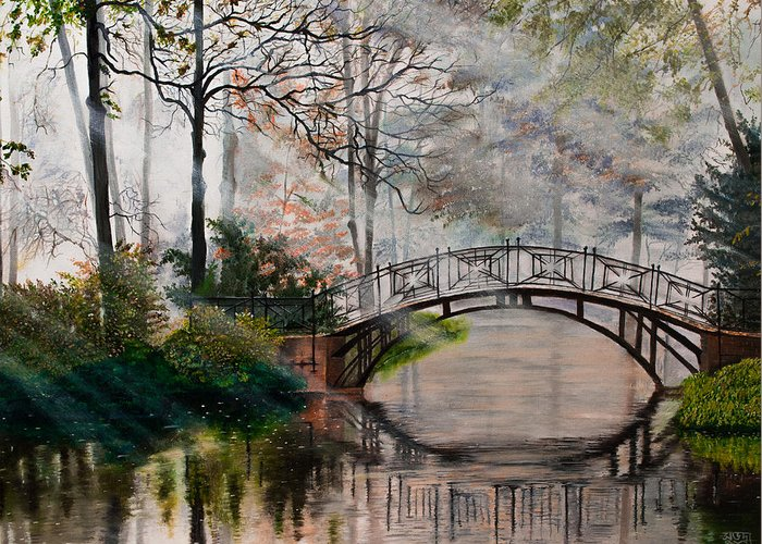Misty Morning Greeting Card featuring the painting Magical Misty Morning by Subhadra Sarkar