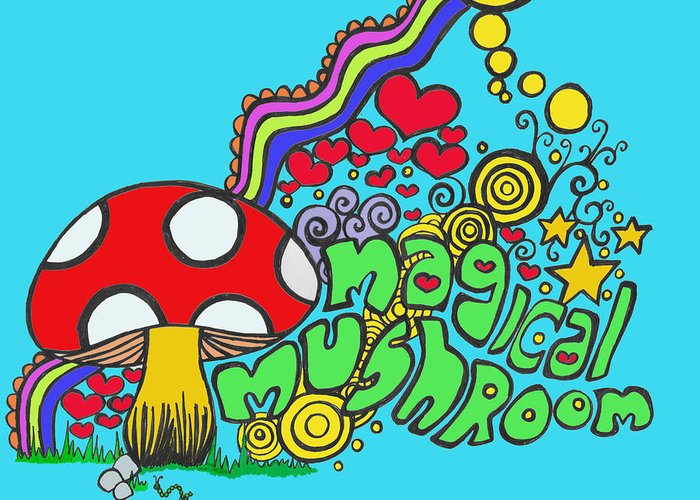Colorful Greeting Card featuring the painting Magical Mushroom Pop Art by Moya Moon