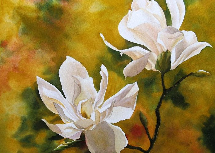Flower Greeting Card featuring the painting Magnolia In Spring by Alfred Ng