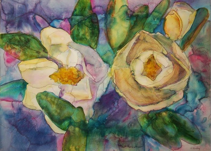 Flowers Greeting Card featuring the painting Magnolia Kaleidescope by Helen Hickey