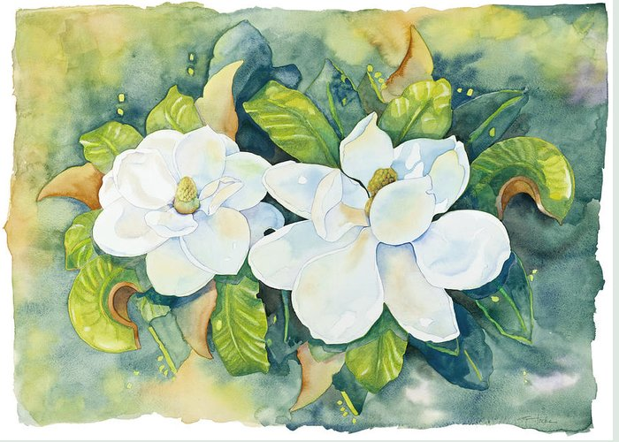 Flowers Greeting Card featuring the painting Magnolias by Cathy Locke