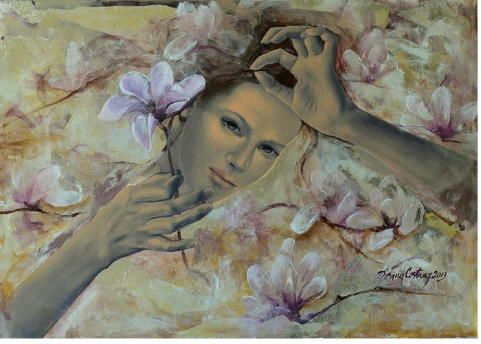 Art Greeting Card featuring the painting Magnolias by Dorina Costras
