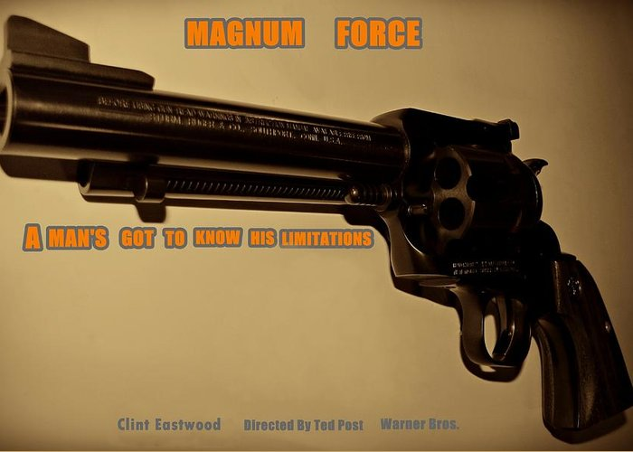 Magnum Force Greeting Card featuring the photograph Magnum Force Custom by Movie Poster Prints