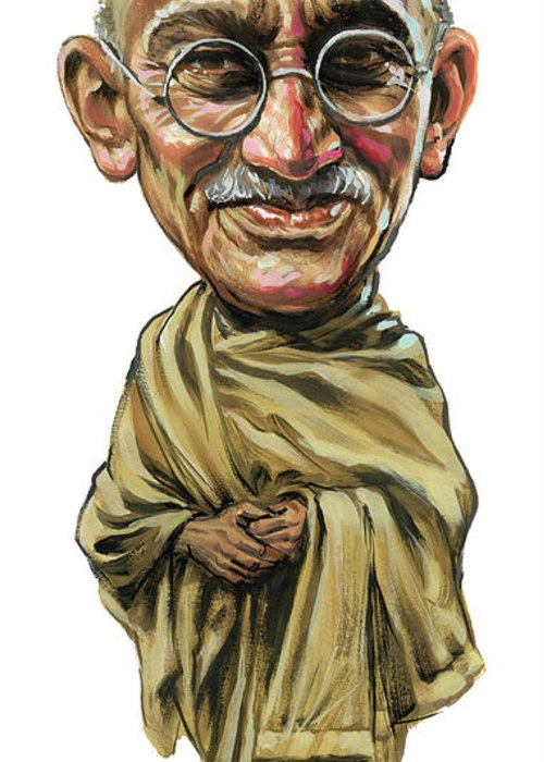 Mahatma Gandhi Greeting Card featuring the painting Mahatma Gandhi by Art