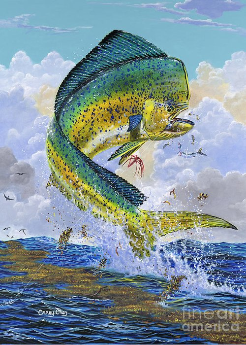 Dolphin Greeting Card featuring the painting Mahi Hookup Off0020 by Carey Chen