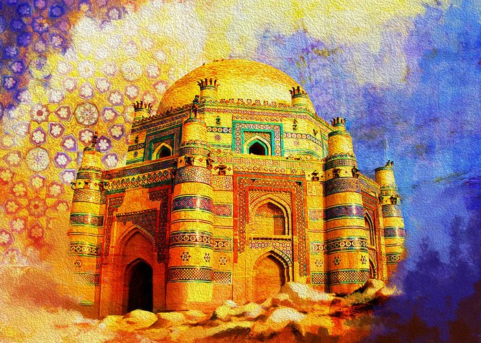 Pakistan Greeting Card featuring the painting Mai Jwandi Tomb On Makli Hill by Catf