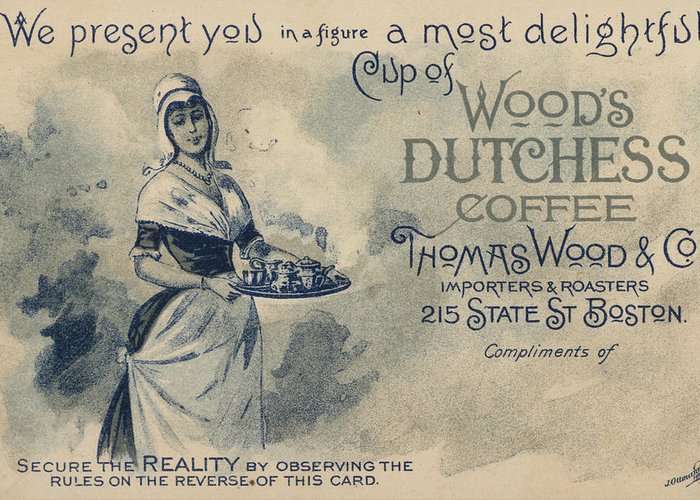 Advertising Greeting Card featuring the painting Maid Serving Coffee Advertisement For Woods Duchess Coffee Boston by American School