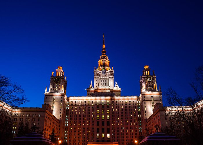 Architecture Greeting Card featuring the photograph Main Building Of Moscow State University At Winter Evening - 5 by Alexander Senin