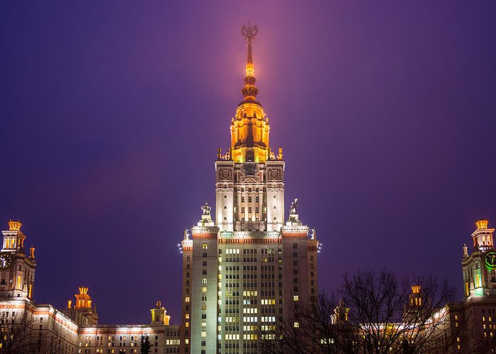 Air Greeting Card featuring the photograph Main Building Of Moscow State University At Winter Evening - Featured 3 by Alexander Senin