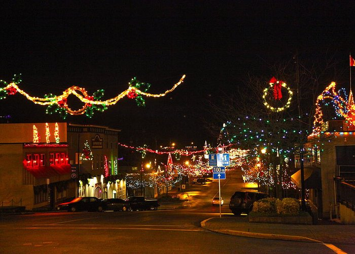 Ladysmith Greeting Card featuring the photograph Main St. Christmas Lights by Ron Ritchey