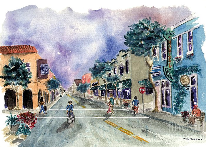 Half Moon Bay Greeting Card featuring the painting Main Street Half Moon Bay by Diane Thornton