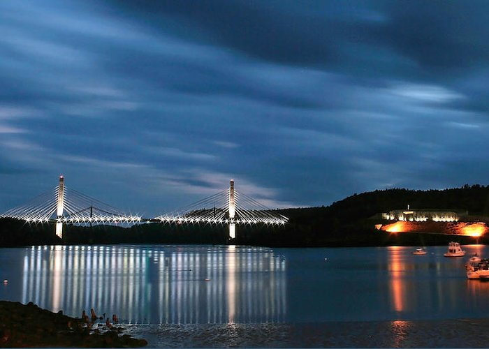 Maine Greeting Card featuring the photograph Maine Bridge And Fort Knox by Barbara West