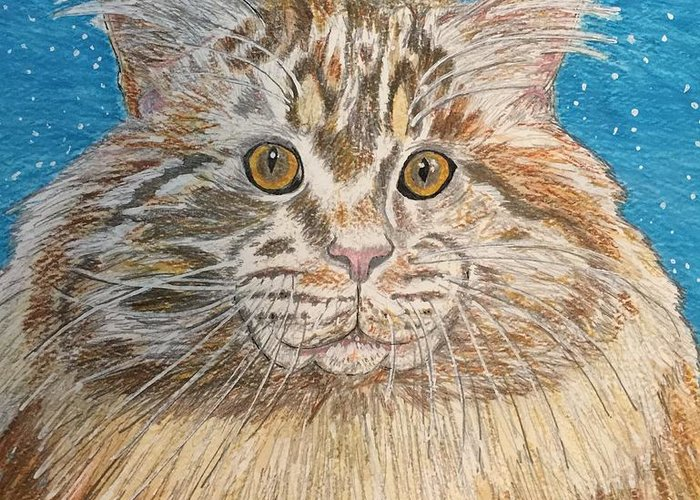 Maine Greeting Card featuring the painting Maine Coon Cat by Kathy Marrs Chandler