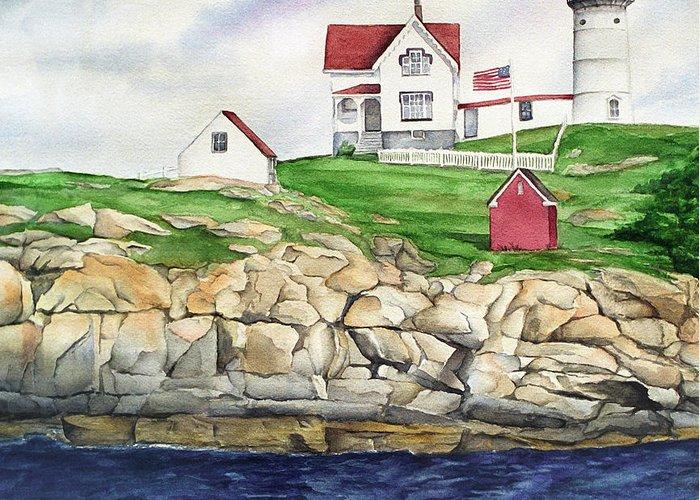 Cape Neddick Lighthouse Paintings Greeting Cards
