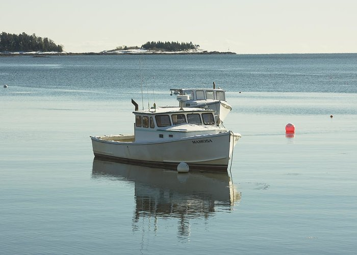 Maine Greeting Card featuring the photograph Maine Lobster Boats In Winter by Keith Webber Jr