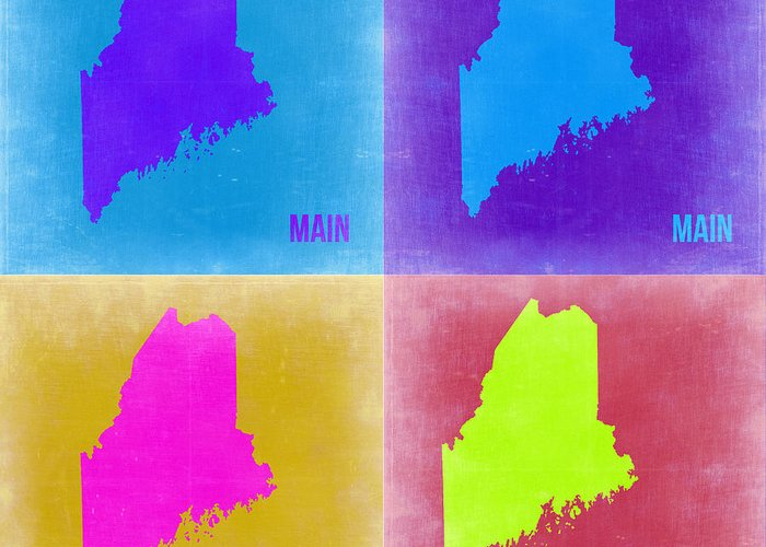 Maine Map Greeting Card featuring the painting Maine Pop Art Map 2 by Naxart Studio