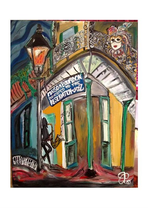 Street Greeting Card featuring the painting Maison Bourbon by Jamie Payne