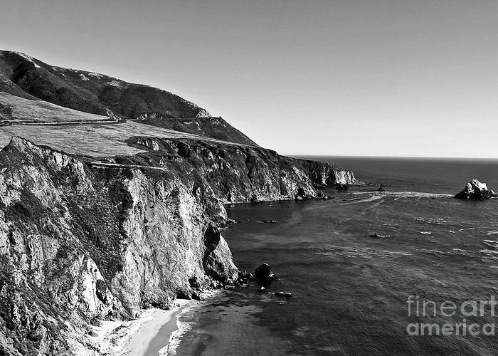 Black&white Greeting Card featuring the photograph Majestic Coast by Scott Pellegrin
