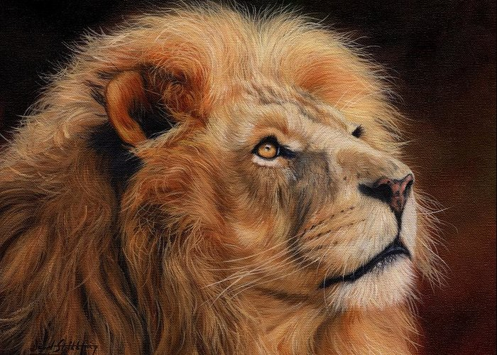 Lion Greeting Card featuring the painting Majestic Lion by David Stribbling