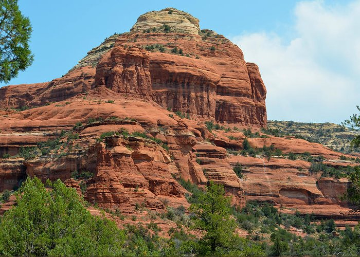Sedona Red Rock Greeting Card featuring the photograph Majestic Sedona by Deprise Brescia