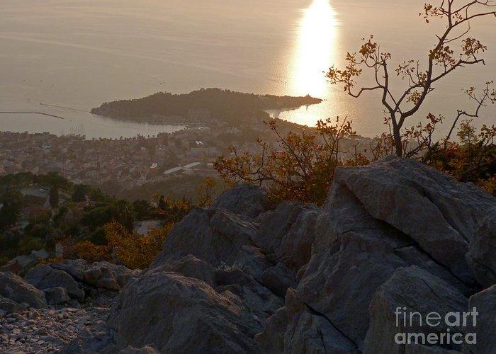 Makarska Greeting Card featuring the photograph Makarska - Evening Light by Phil Banks