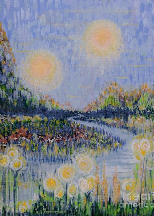Landscape Greeting Card featuring the painting Make A Wish by Holly Carmichael