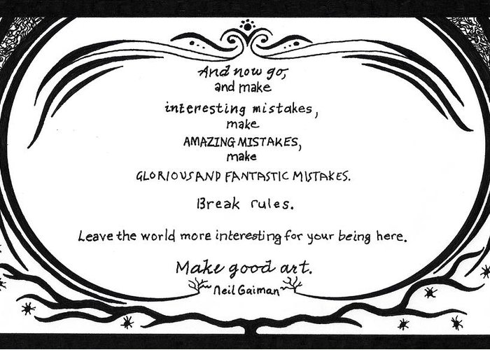 Pen Greeting Card featuring the drawing Make Good Art by Kerri White