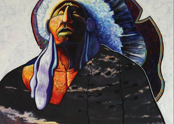 Native American Greeting Card featuring the painting Make Me Worthy by Joe Triano