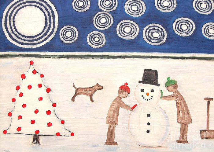 Snowman Greeting Card featuring the painting Making A Snowman At Christmas by Patrick J Murphy